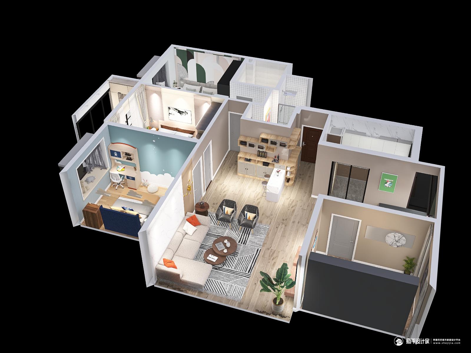 北欧风格四室四厅装修设计效果图