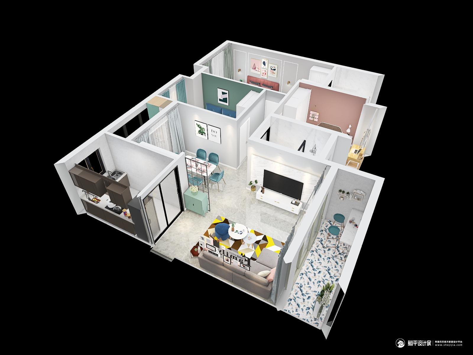 北欧风格三室三厅装修设计效果图