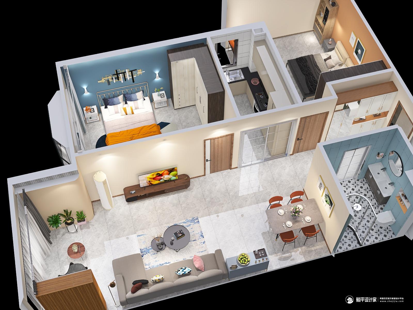 北欧风格两室两厅装修设计效果图