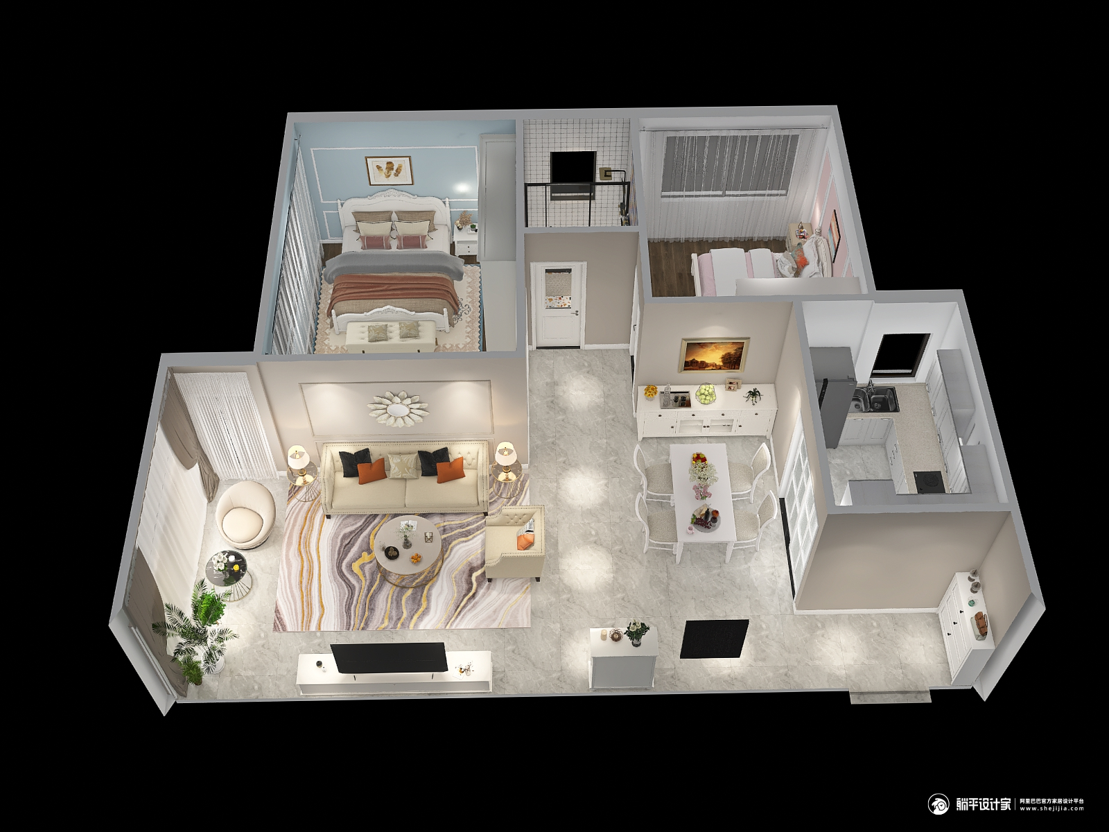 美式风格两室两厅装修设计效果图