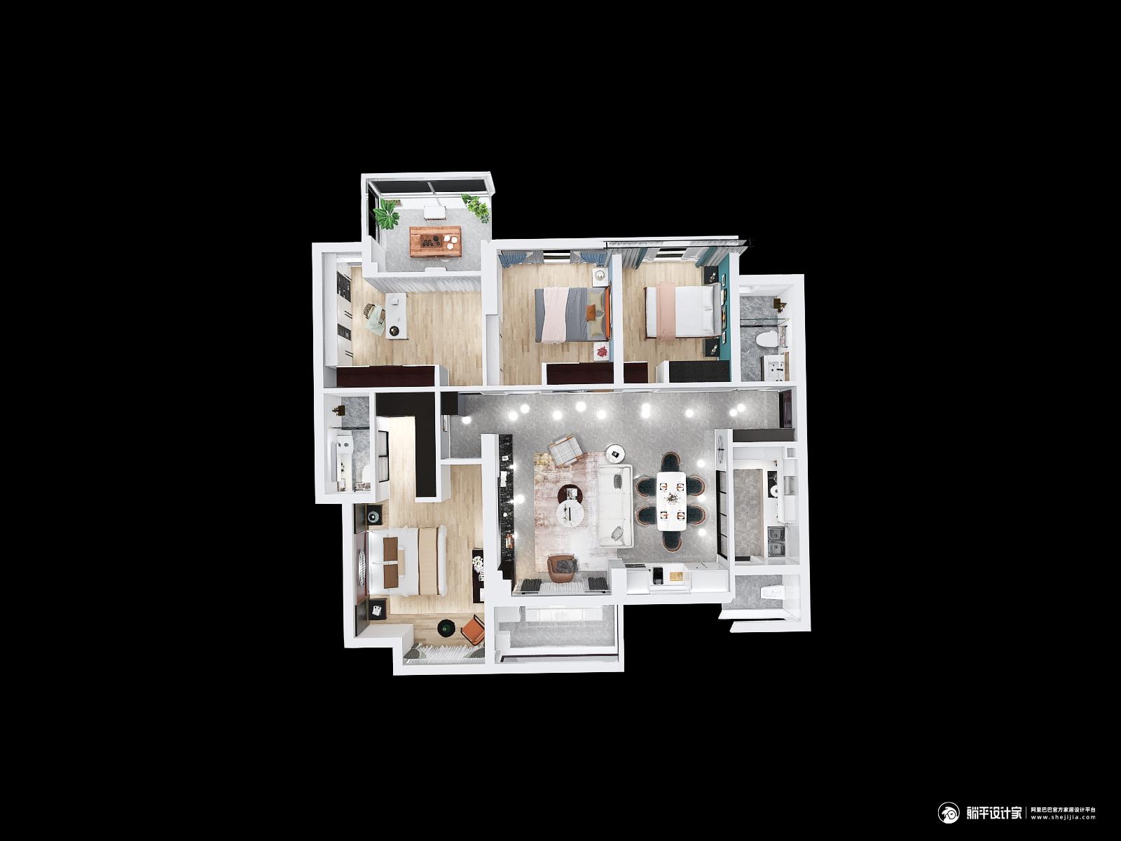 现代风格四室两厅装修设计效果图