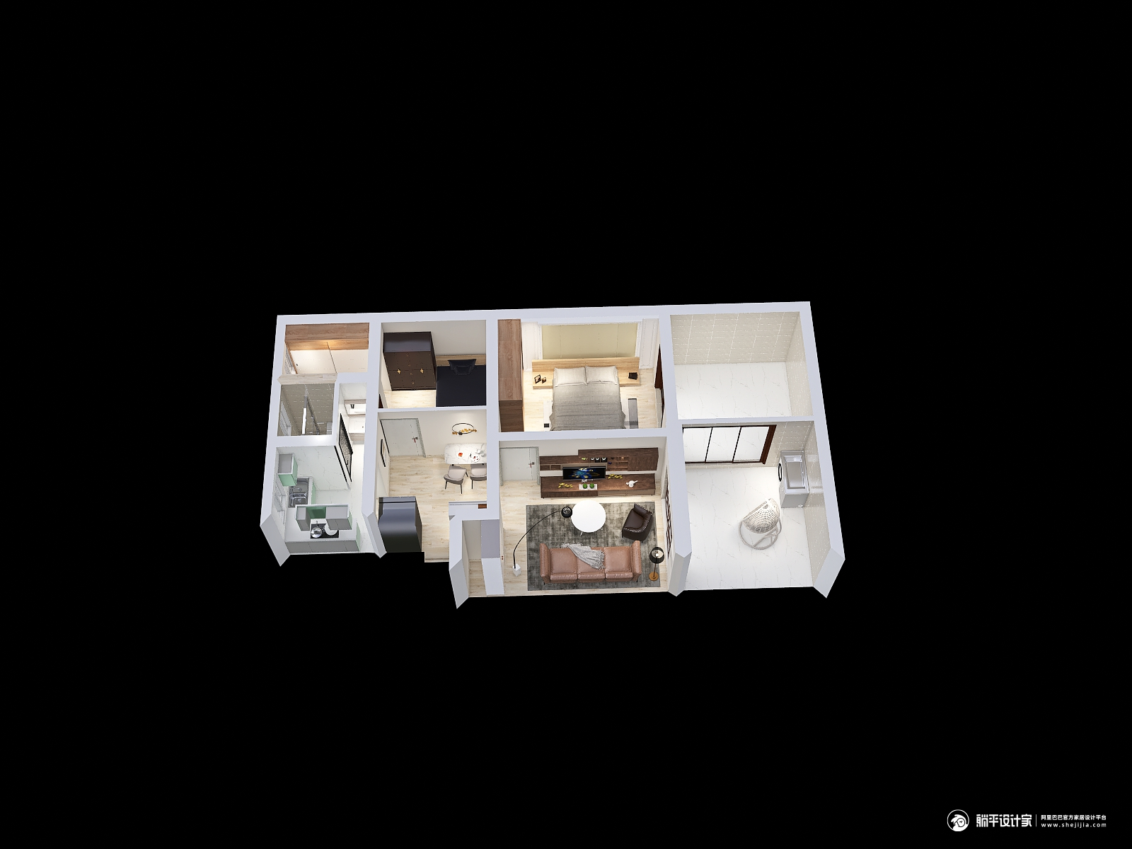 新古典风格两室两厅装修设计效果图