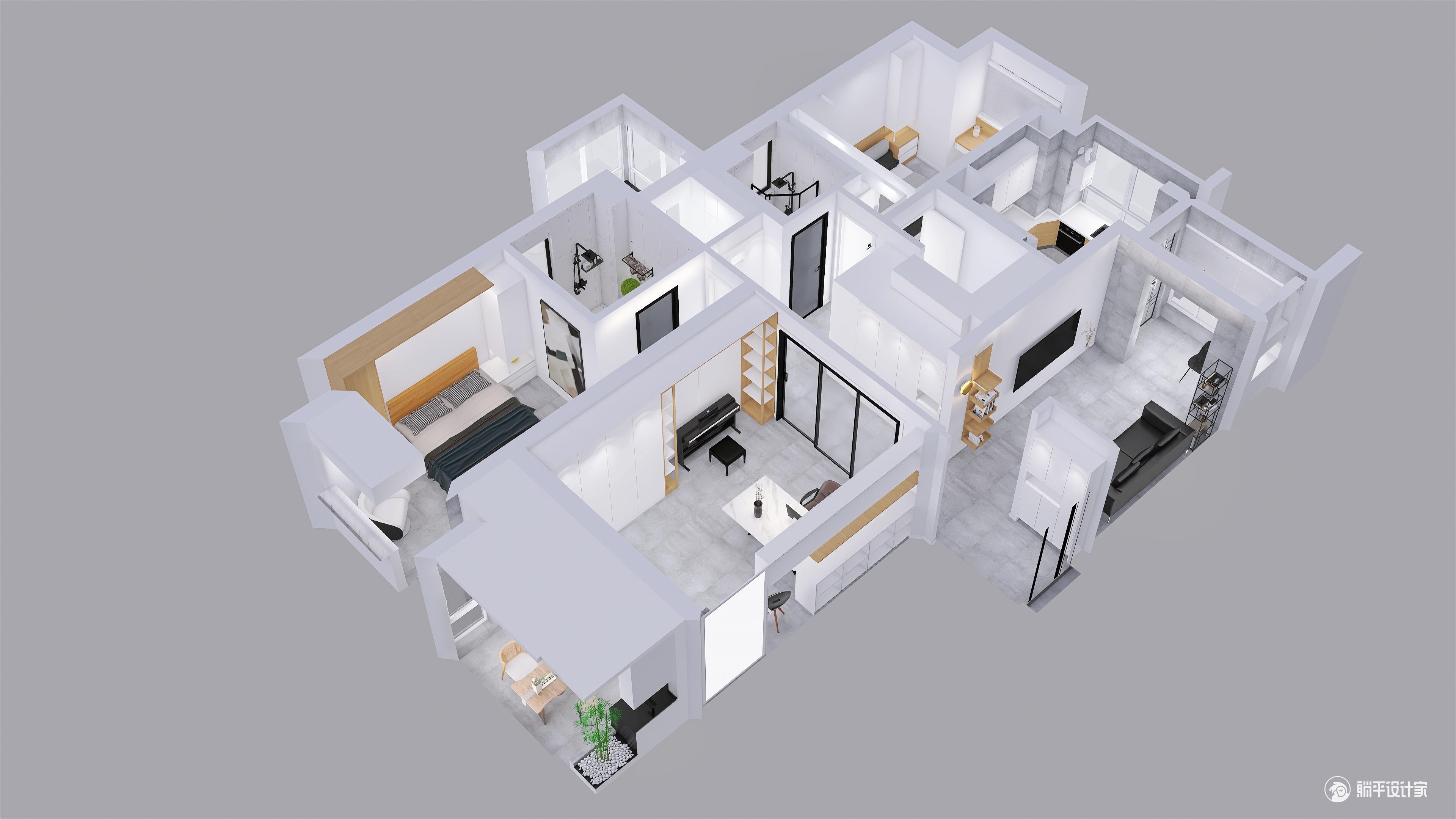 日式风格三室两厅装修设计效果图